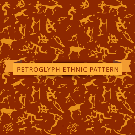 saami: Seamless ethnic petroglyph saami pattern in orange color on brown background