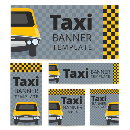 black cab: Taxi banner template set with cab on a grey black and yellow background