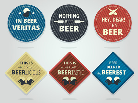 slogans: Set Of Colored Round and Square Ready Beer Coasters With Slogans And Phrases, Motivation Bierdeckels Design Illustration