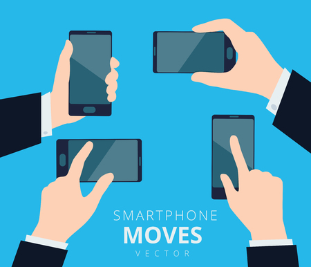 Set of hands with smartphone, moves and gestures design Illustration