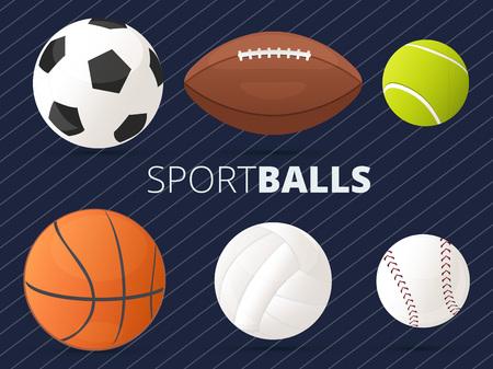 balones deportivos: Conjunto de bolas del deporte con el fútbol, ??baloncesto, tenis, voleibol, béisbol y fútbol americano  regby Vectores