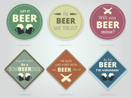 slogans: Set Of Colored Round and Square Ready Beer Coasters and Mats With Slogans And Phrases, Motivation Bierdeckels Design