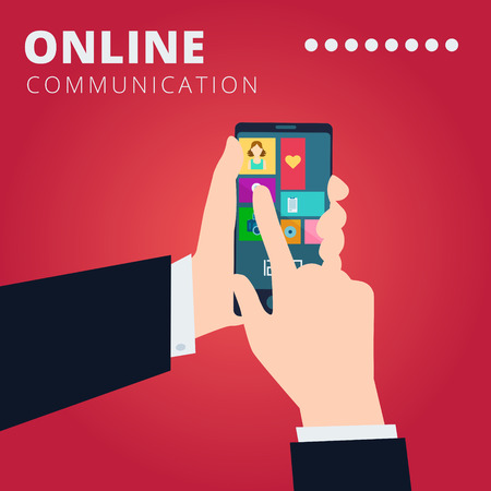 Online communication vector concept design with hands hold smartphone and click on the touchscreen Illustration