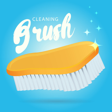scrubbing: Vector plastic housing clothes shoes floor washing scrubbing cleaning brush, hand houshold tool