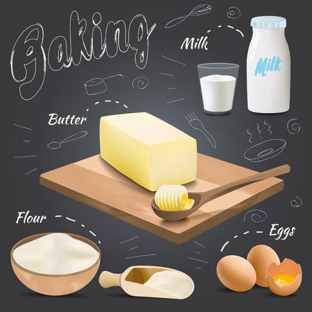 Set of vector baking ingredients design with butter, flour, eggs, milk. Kitchen utensils for cooking Stock Illustratie