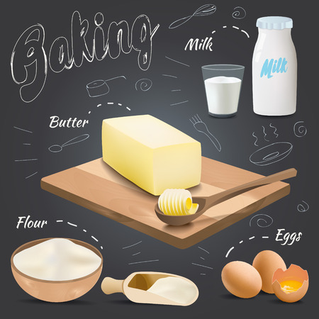 Set of vector baking ingredients design with butter, flour, eggs, milk. Kitchen utensils for cooking Illustration
