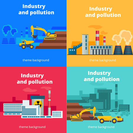 zero emission: Set of vector industry and pollution backgrounds. Environmental problems concept banner Illustration