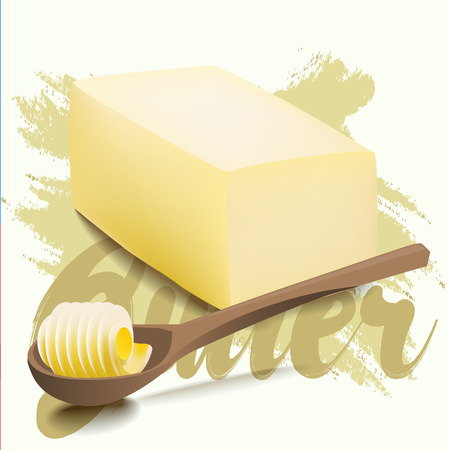 A piece of yellow milk butter with rolled slice on wooden spoon. Margarine Vectores