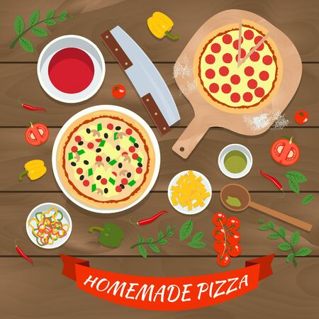 lay: Flat vector homemade pizza illustration concept. Top view of ingredients cooking process