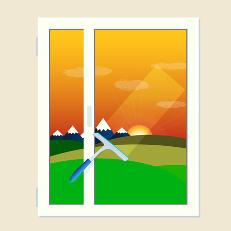 window cleaning: Vector window cleaning scrubber and transparent glass with sunset landscape in flat design. Cleaning service element Illustration