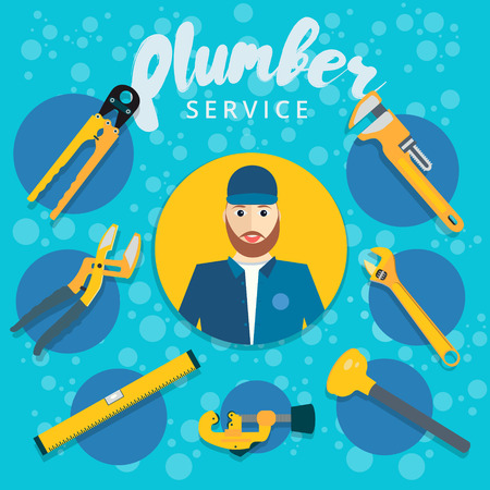 tube wrench: Set of vector plumber service concept design. Plumbing repair tools icons in flat style