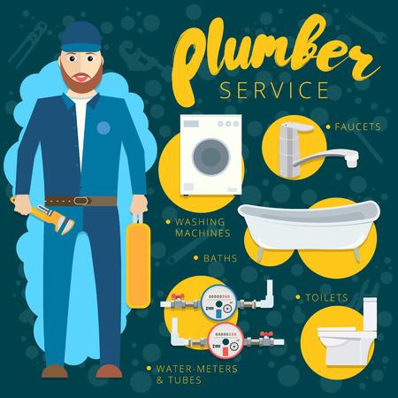 Plumbing repair tools in flat style. Vector plumber service banner concept design