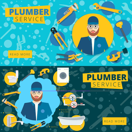 Set of vector plumber service concept web banner design. Plumbing repair tools background in flat style Illustration