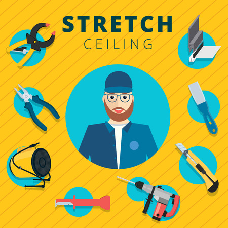boxcutter: Stretch ceiling vector tools and worker illustration concept design. Stretched cap in flat style with instruments background