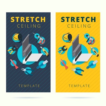 stretch: Stretch ceiling vector tools and worker business card concept design. Stretched cap in flat style with instruments background