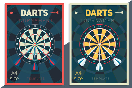 Darts tournament vector poster template design. Flat retro style contest flyer concept in A4 size