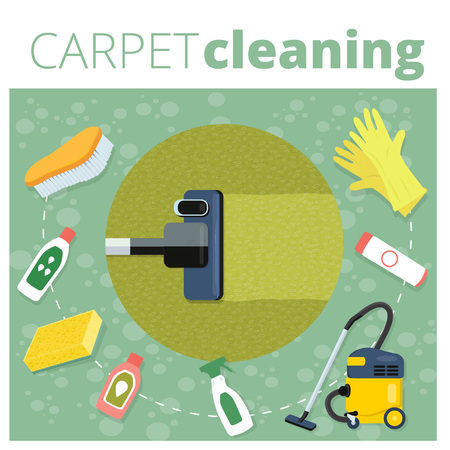 carpet cleaning service: Carpet cleaning service vector illustration. Business concept design. Housework tools and sanitizing moistures