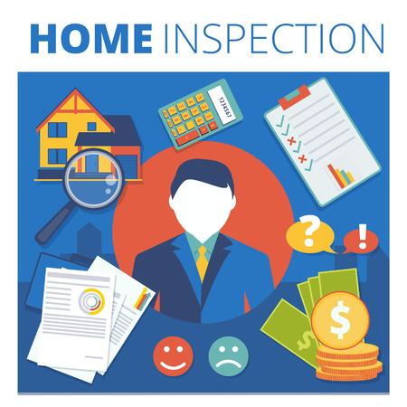 Home inspection vector concept design. Real estate appraisal service business illustration  イラスト・ベクター素材