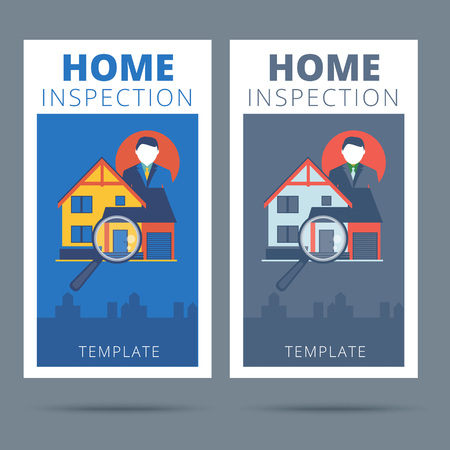 building inspector: Home inspection vector business card concept design. Real estate appraisal service business banner