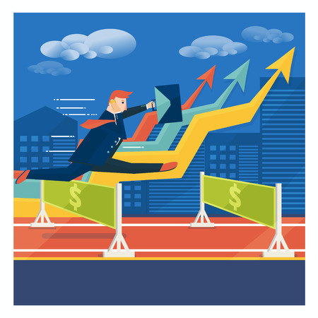 broker: Young businessman or broker jumping over career obstacles. Success in business concept. Vector illustration