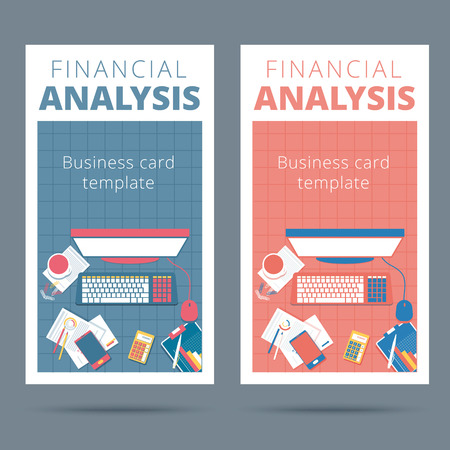 liquidity: Financial analysis vector business card concept. Audit and accounting proccess illustration