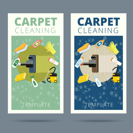 carpet cleaning service: Carpet cleaning service vector illustration. Business card concept design. Housework tools and sanitizing moistures Illustration