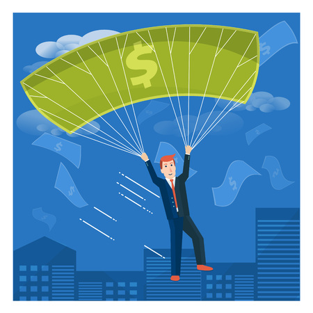 moneymaking: Businessman flying with dollar parachute over the city. Business success or money-making vector concept illustration.