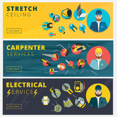 stretch: Set of professional repair worker banners. Stretch ceiling, carpenter and electrician service vector background design