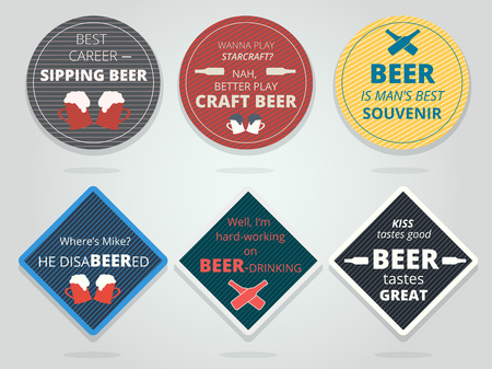 mats: Set of colored round and square ready beer coasters and mats with slogans and phrases. Motivation bierdeckels design