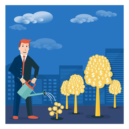 moneymaking: Businessman or broker watering golden tree offspring. Vector money-making or startup business concept design