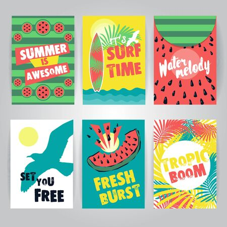 Set of juicy colorful summer greeting cards. Fresh and trendy vector tropical backgrounds Illustration