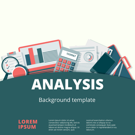 liquidity: Financial analysis vector concept. Audit and accounting proccess illustration Illustration