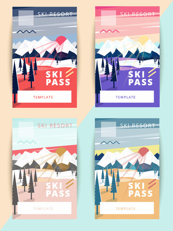 Set of vector ski pass template design. Trendy colorful mountain background illustration Ilustração