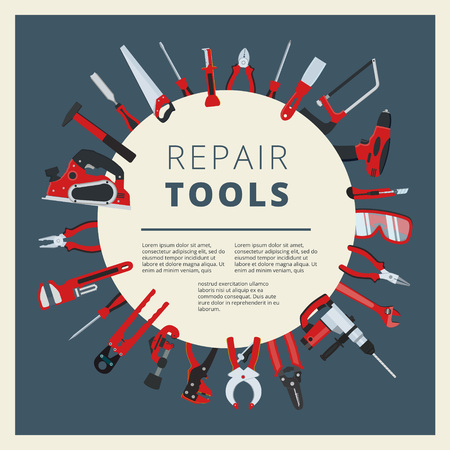 Set of vector home repair toold, instruments and equipment. Household work tackle icons collection Vettoriali