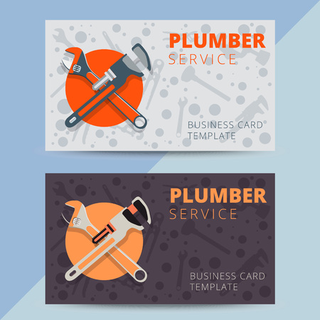 Set of professional electrician business card template vector 63274896 set of professional plumbing service business card templates vector plumber or handyman background design for flyer poster or banner reheart Images