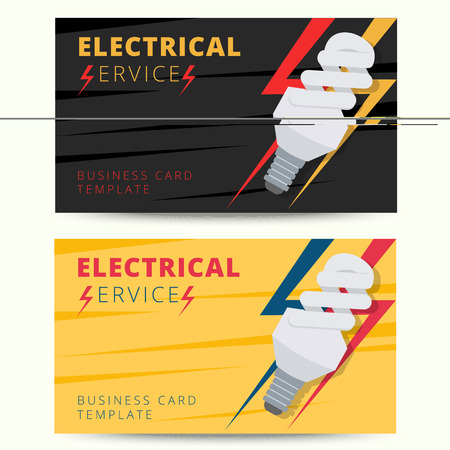 electrical engineer: Set of professional electrician business card template. Vector electrical services engineer background design for poster, flyer, banner etc.