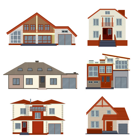 villas: Set of various detailed houses and villas design. Collection of modern real estate vector illustration. Residential buildings exterior isolated on white background