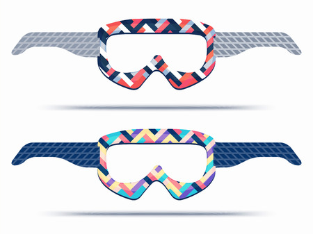 Mountain ski and snowboard goggles blueprint template for die cutting. Trendy print glasses for paper or cardboard transfer. Best for party souvenir or gift