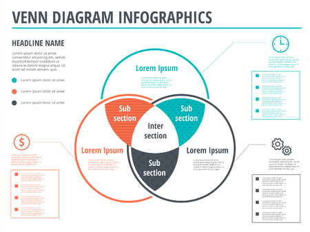 Venn diagram circles infographics template design. Vector overlapping shapes for set or logic graphic illustration.