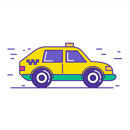 motor de carro: Yellow public taxi car icon design in trendy cartoon line style. Vector illustration of city cab service isolated on white background.