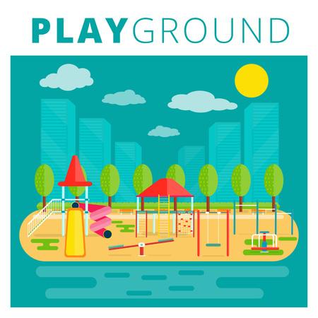 fun background: Playground for kids vector design. Nursery or children playfield and recreation park illustration