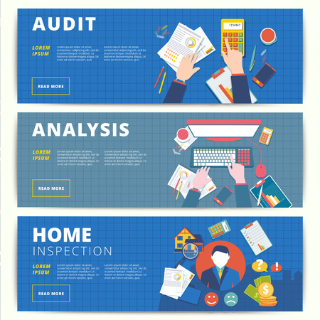 Set of vector web banners design for business or finance services. Financial analysis, audit or accounting, and home inspection and appraisal affairs. Illustration