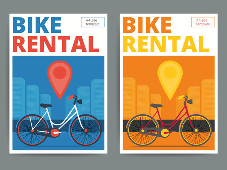 letting: Trendy bicycle rental service poster design. Modern vector bike hire advertisement flyer in A4 size. Cycle and city background.