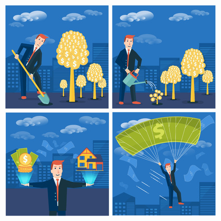 achieving: Set of businessman or broker striving and achieving success in business. Vector money-making or startup concepts design. Finance, strategy and marketing illustration Illustration