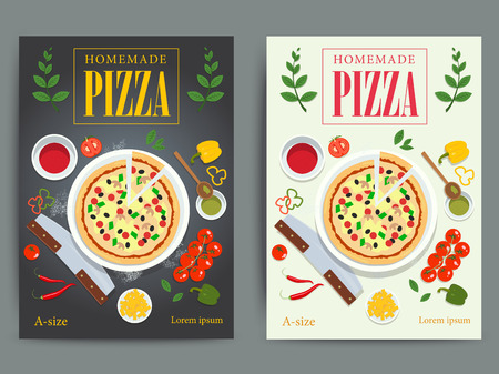 margherita: Set of bright pizzeria advertisement posters design. Vector italian pizza restaurant ad flyer or banner. Fast food cooking background illustration