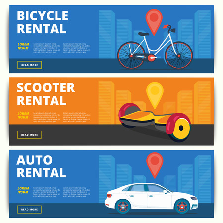 letting: Set of bicycle, gyroscooter and auto rental web banners design. Vector ad backgrounds of bike, scooter and car for rent services.