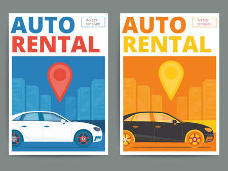 for rental: Trendy auto rental service poster design. Modern vector car hire advertisement flyer in A4 size. Automobile for rent on city background.