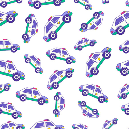 patrol: Bright cartoon patrol car seamless pattern design for kids. Trendy children police auto repetitive print for wrapping paper, apparel, wallpaper, etc. Illustration