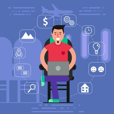 staying: Young man sitting in chair on plane surfing inflight wifi concept. Vector illustration of staying online by using onboard internet access.