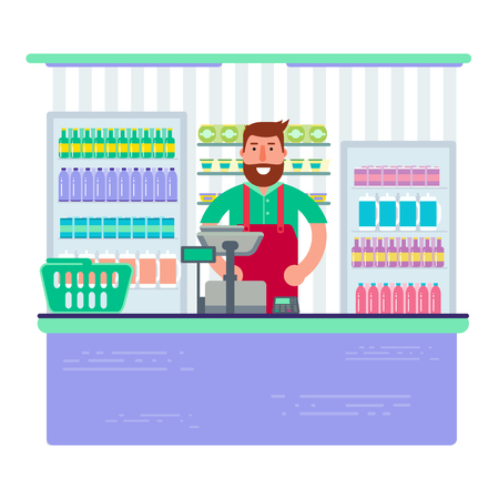 Beardy man working as cashier in shop or supermarket. Hipster retail seller at checkout in store. Vector illustration design. Illustration